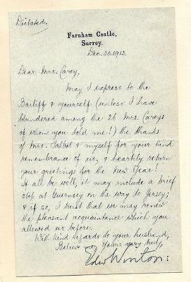 Edward Winton, Farnham Castle, Surrey (1913 Signed Letter on Headed Notepaper)