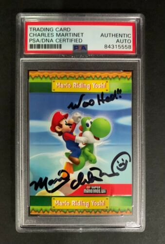 Mario Trading Card Signed by Charles Martinet, PSA 84315558 Nintendo