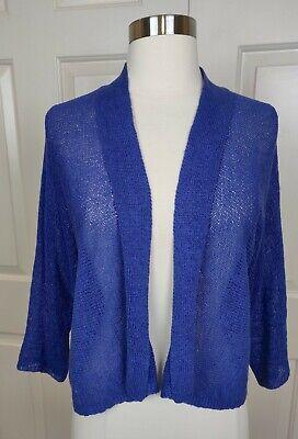 Eileen Fisher Blue Linen blend open 3/4 sleeve Cardigan Sweater size XS