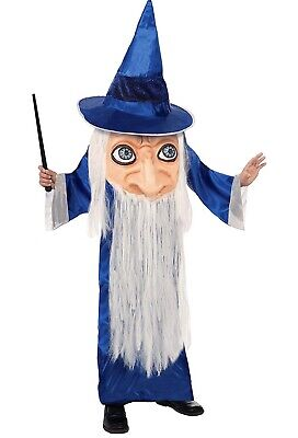 Big Face Wizard Child Costume One Size 10 Sorcerer Halloween NEW](Big Kid Costumes)