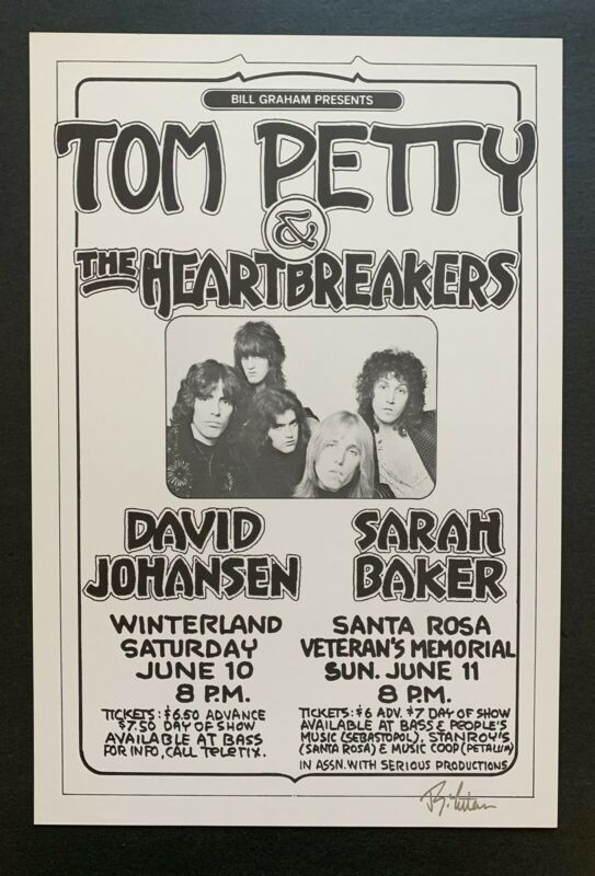 Tom Petty And The Heartbreakers Original Concert Poster at Winterland and Santa