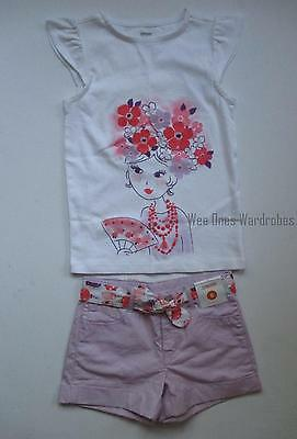 Gymboree Cherry Blossom Girl Tee Shirt Top Purple Belted Shorts Set Girls 6 NWT Cherry Blossom Tee-set