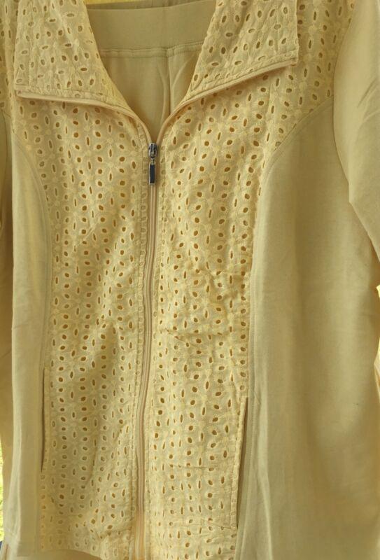 Denim & Co Yellow 2pc Crop Pants & Eyelet Zip Jacket Cotton Blend XL Outfit NEW