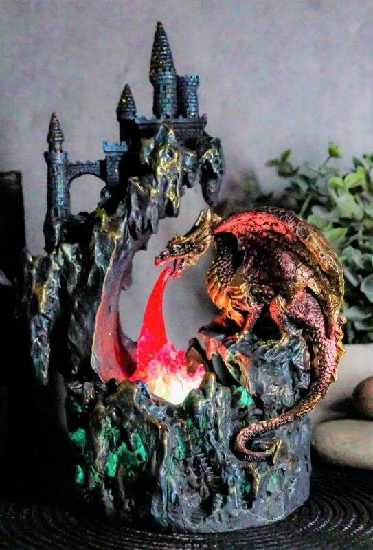 Ebros Red Garnet Fire Dragon By Rocky Mountain With Castle LED Light Figurine