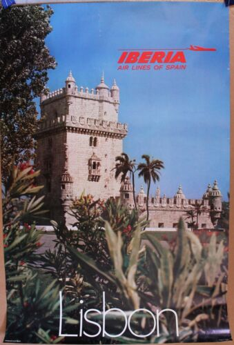 "IBERIA Air Lines of SPAIN travel poster 24"" x 36"" 1970s issue"