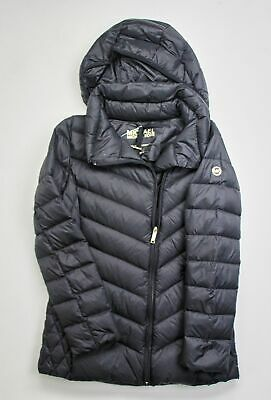 $350 Michael Kors Packable Down Fill Quilted Coat Small Black Hooded