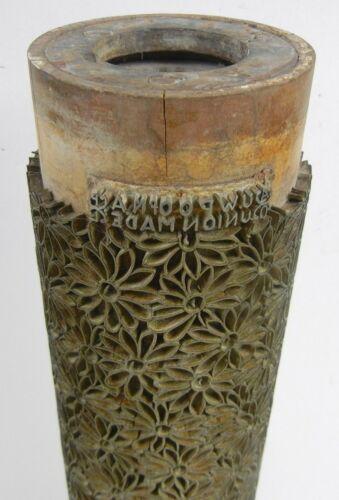 VTG Industrial WALLPAPER Brass & Wood PRINT ROLLER Floral MCM Decor LAMP BASE