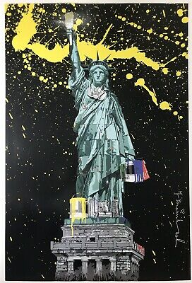 Mr Brainwash LIBERTY NY Icon 2010 Hand Signed Color Offset Lithograph 24X36 (Mr Brainwash Posters)