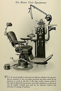 THE RITTER CHAIR UNIT EQUIPMENT DRILL DENTAL DENTIST ANTIQUE 13X19 PRINT