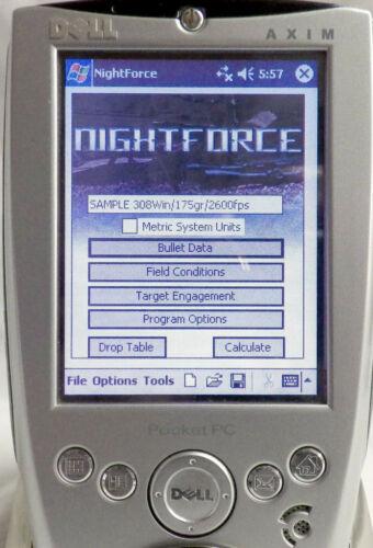 FREE SHIPPING! DELL X5 NIGHTFORCE EXTREME LONG RANGE RIFLE BALLISTIC CALCULATOR
