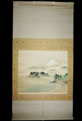 Japanese Silk Scroll Painting w Mt Fuji & Landscape Motif signed Hamada (***) #6