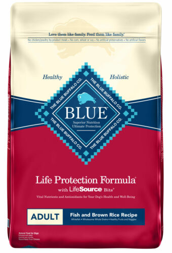 Blue Buffalo Fish and Brown Rice Recipe Adult Dry Dog Food, 30-lb New !!!
