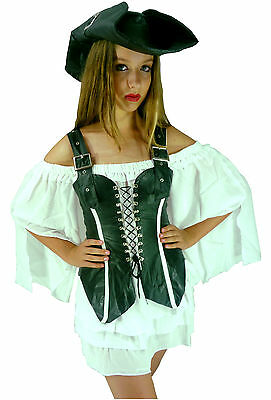 Rebel Buccaneer Pirate Maid Wench Leather-Look Fancy Dress Costume + Hat M 10-12