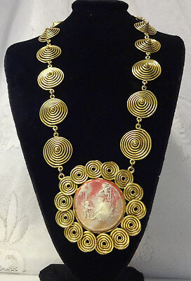 Vintage Haute Couture Runway Chunky Fashion Large Lucite Cameo w Angel Necklace