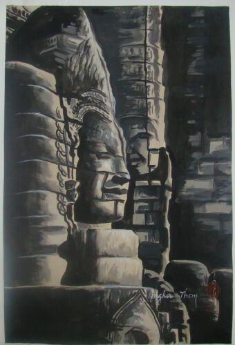 Vintage Cambodia Cambodian Art Painting Prasat Bayon Hindu Buddha Angkor Thom