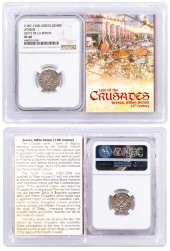 1250-1310 Greece, Billon Denier Coin of Crusades NGC XF40 Story Vault SKU51724