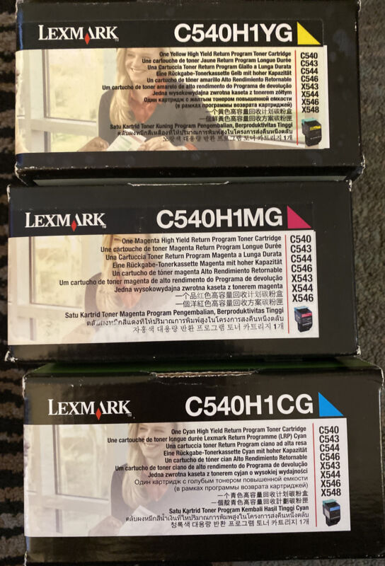 NEW Genuine Lexmark C540H1YG C540H1MG C540H1CG Set of 3 Color Toner Cartridges