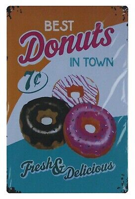 Best donuts in town fresh delicious tin sign apartment decor