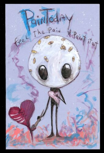 Gus Fink Art Original Painting Outsider Lowbrow Folk Abstract Love Pain Today
