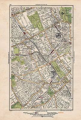 1923 LONDON STREET MAP - KENSINGTON, WEST KENSINGTON,FULHAM,PARSON'E GREEN,EARLS