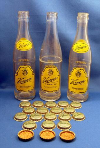 Vintage 3 Vernors 8 oz Elf Ginger Ale Bottles & 20 Unused Cork-lined Bottle Caps