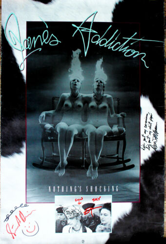 Jane's Addiction signed EARLY Full Sized Nothings Shocking Poster by all 4 guys