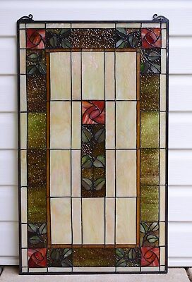 """20"""" x 34"""" Large Handcrafted stained glass window panel Rose Flower!"""