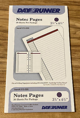 Day Runner 30 Lined Note Pages For 6 Ring Organizer 3 34 X 6 34-b22