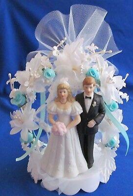 Black Coat Blonde Bride & Groom Wedding Cake Top, Shower, Aqua -