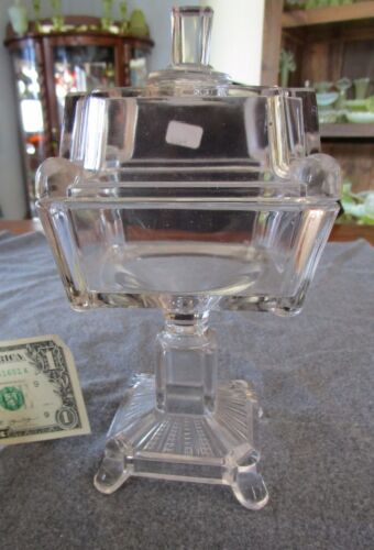 ANTIQUE ADAMS & COMPANY SQUARE PANES/POST PATTERN COVERED COMPOTE