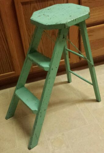 Early Old Mint Green Painted Folding Wooden Step Stool Country Kitchen