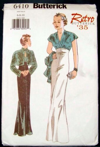 Butterick 6410, Sewing Pattern Retro 1935, Evening Dress, Misses' 6,8,10, New