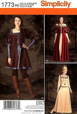 Simplicity Sewing Pattern 1773 Women's 14-22 Medieval Costume Dress Renaissance