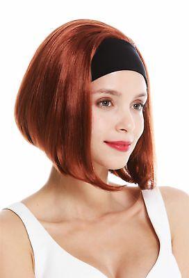 Perücke Damen Stirnband kurz glatt 80er Retro Look Kupfer Rot Kupferrot GFW948