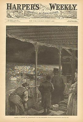 Riverboat, Making A Landing By Search Light On The Mississippi, 1890 Antiq Print