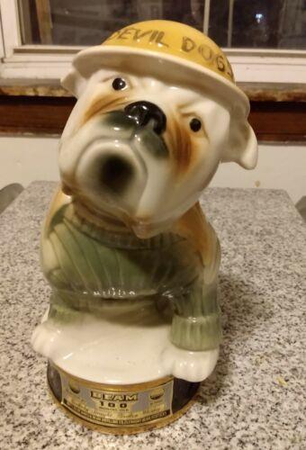 1979 Vintage Jim Beam Whiskey Decanter USMC Military Mascot Devil Dogs Empty