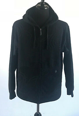 Volcom Men's Black Gray Full Basic Zip Hoodie Sweatshirt Size Medium -