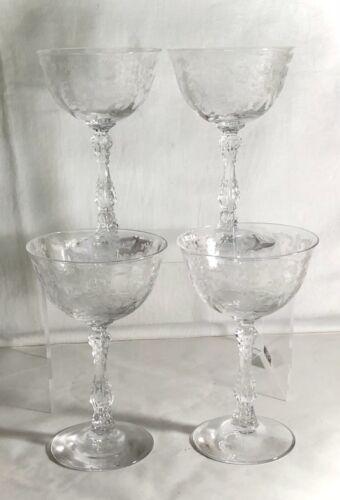 "4 Fostoria Crystal Navarre 5 5/8"" 6 oz. Saucer Champagnes"