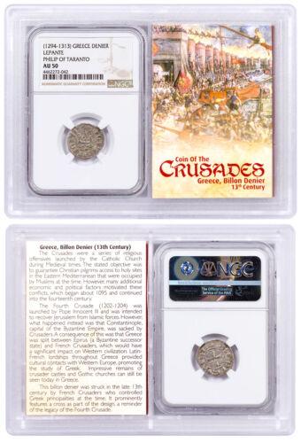 1250-1310 Greece, Billon Denier Coin of Crusades NGC AU50 Story Vault SKU51849