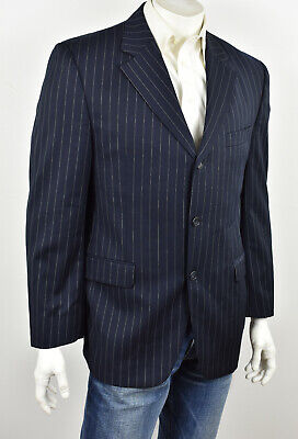 JACK VICTOR COLLECTION Navy Pinstriped SUPER 110's Wool VITALE Suit Jacket 42R