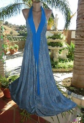 Bold&Beautiful IbizaLook Sexy Maxi Kleid Neckholder Farbmix HBlau Seide EG 36-40