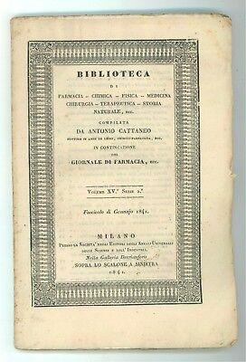 CATTANEO ANTONIO BIBLIOTECA FARMACIA CHIMICA FISICA MEDICINA 1841 ANNO COMPLETO