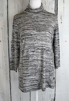Liz Lange Women's Knit Turtleneck Top Tee Pullover Blouse 3/4 Sleeve Space Dye S