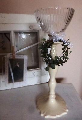 Groß 9 Lichte (Windlichtaufsatz Glasaufsatz Teelichtaufsatz gestreift Ø13,5cm /H9 Kerzenglas )