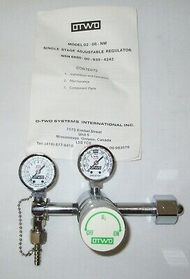 New Otwo O-two Large Cylinder Single Stage Adjustable Medical Oxygen Regulator