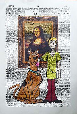 Scooby Doo vs Leonardo da Vinci- The Mona Lisa - Dictionary art gift print