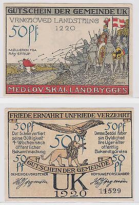 50 Pfennig Banknote Notgeld Gemeinde UK Dänemark 1920 (121914)
