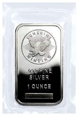 Sunshine Minting Inc. 1 Troy Ounce .999 Fine Silver Bar USA SKU27271