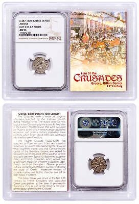 1250-1310 Greece, Billon Denier - Coin of Crusades NGC AU53 Story Vault SKU51726