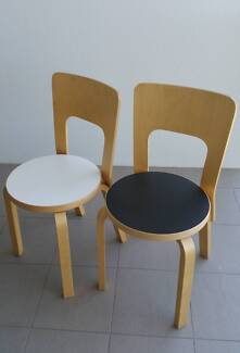 2x Alvar Aalto Chair 66, (one white one black) Kelvin Grove Brisbane North West Preview